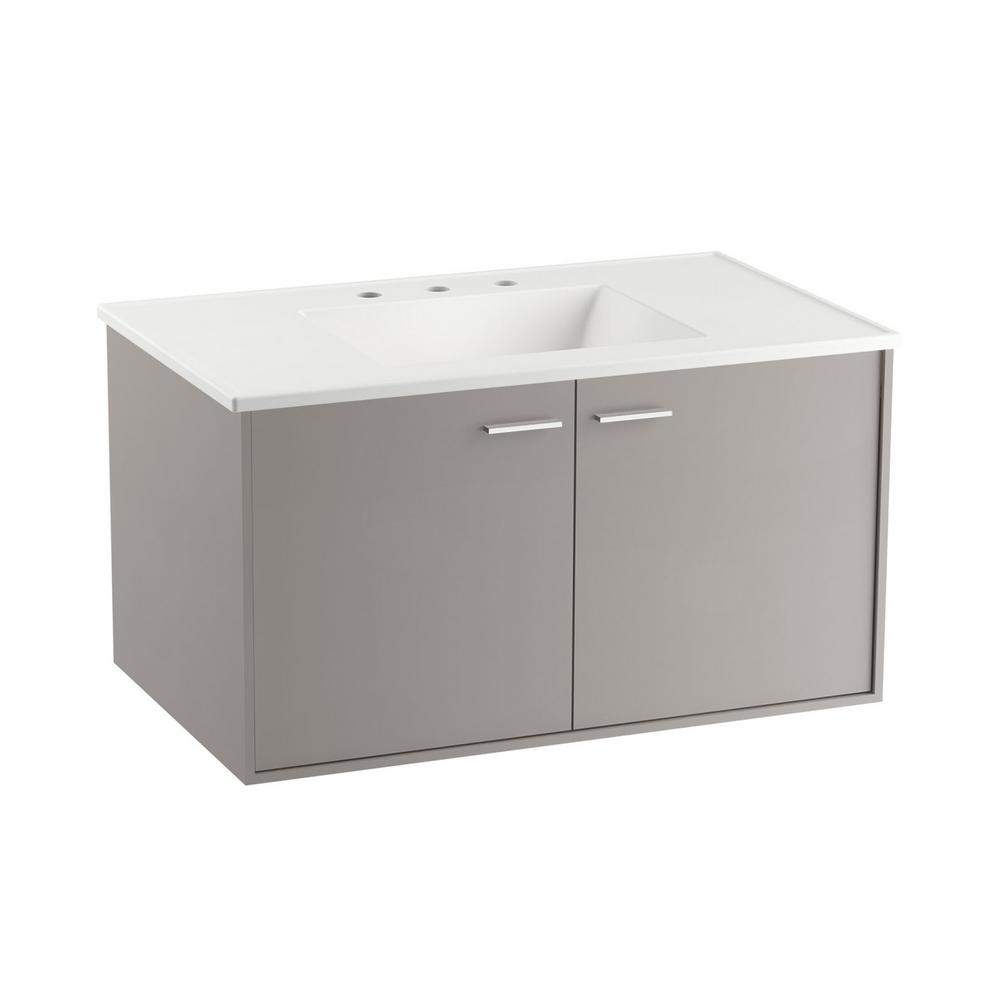 W Wall Hung Vanity Cabinet In Mohair Grey With Vitreous
