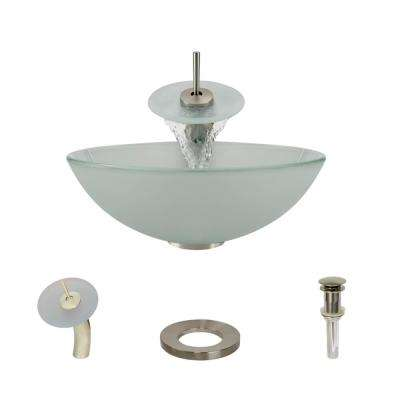 Glass Vessel Sink in Frosted with Waterfall Faucet and Pop-Up Drain in Brushed Nickel