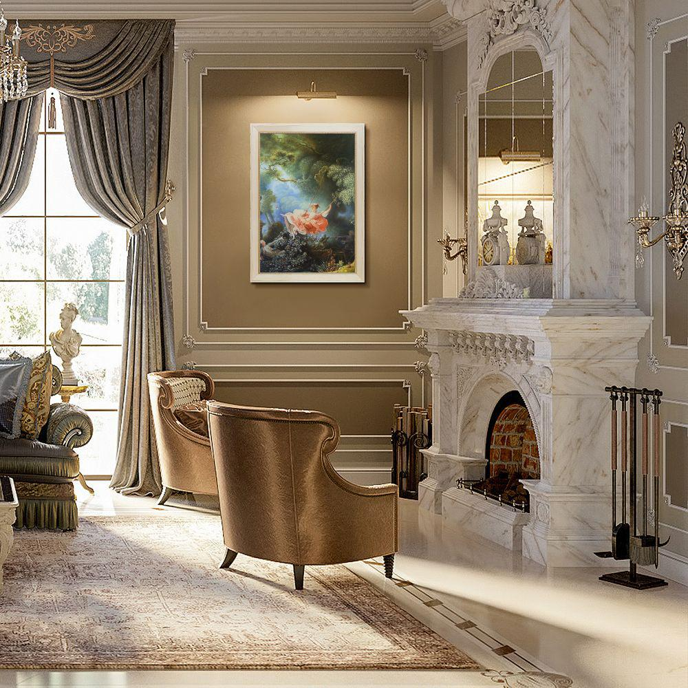 La Pastiche 41 in. x 29 in. The Swing, c.1765 with Constantine Frame by Jean-Honore Fragonard Framed Wall Art, Multi-Colored was $1224.0 now $595.2 (51.0% off)