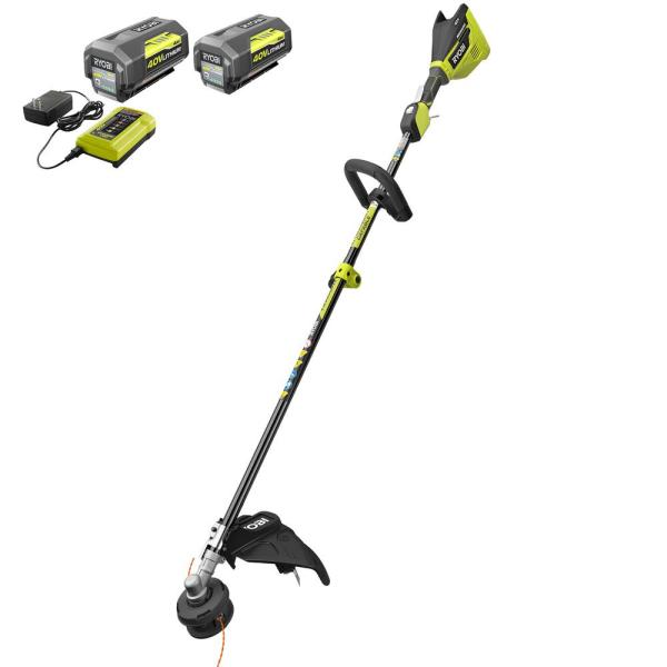 40-Volt Lithium-Ion Brushless Electric Cordless Attachment Capable String Trimmer-Two 4 Ah Batteries, Charger Included