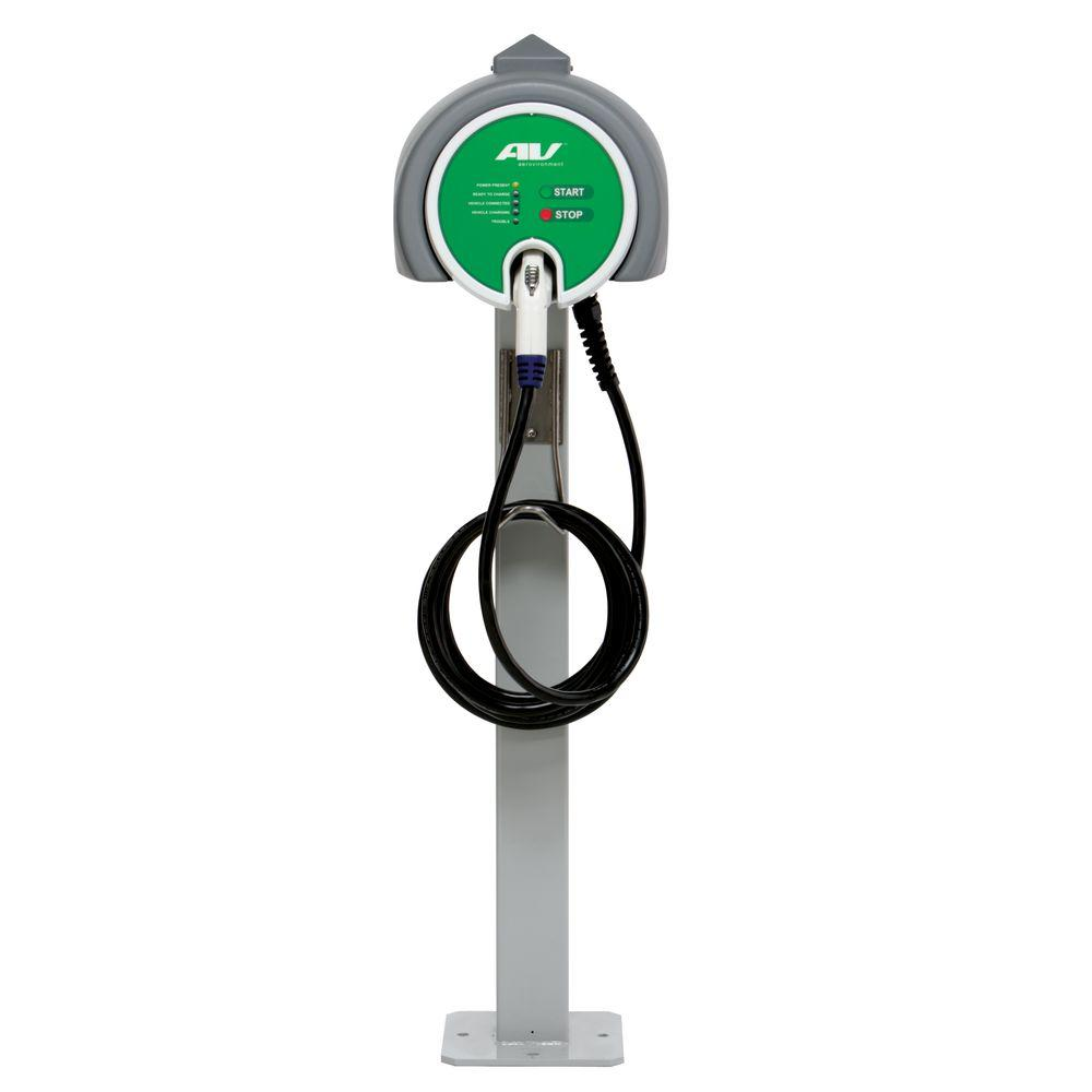 Single Pedestal 32 Amp Level 2 EV Charging Station with 25