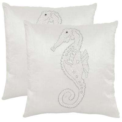 Smooching Seahorse Embellished Hand-Beaded Pillow (2-Pack)
