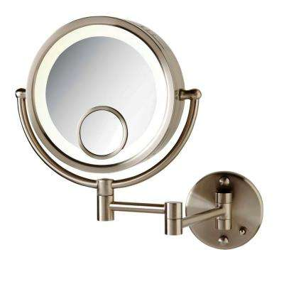 8 in. x 8 in. Round Lighted Wall Mounted 7X and 15X Magnification Make Up Mirror in Nickel