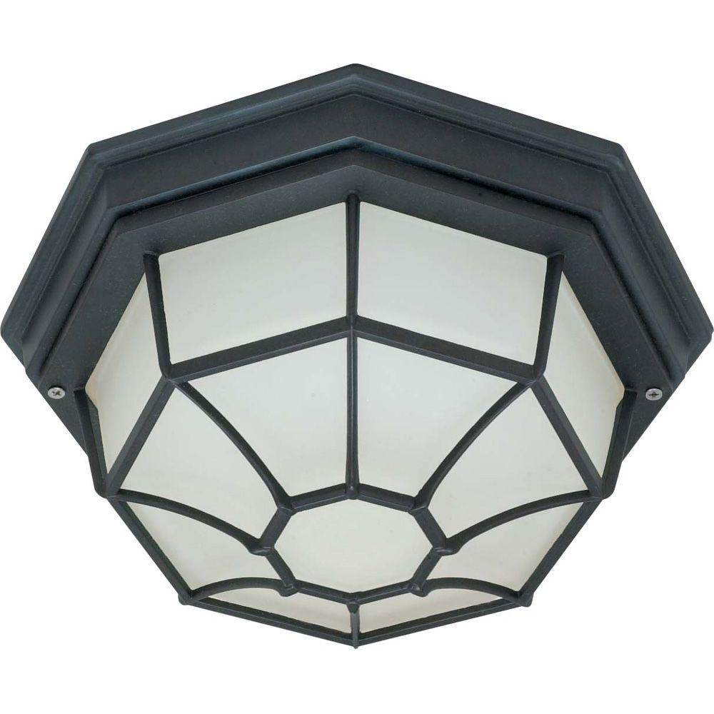 1-Light Outdoor Textured Black Ceiling Spider Cage Fixture with Die Cast