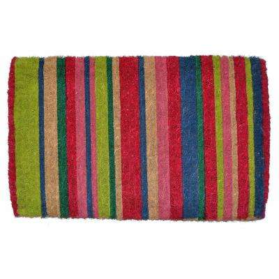Traditional Coir Mat, Multi-color Stripes, 30 in. x 18 in. Natural Coconut Husk Doormat
