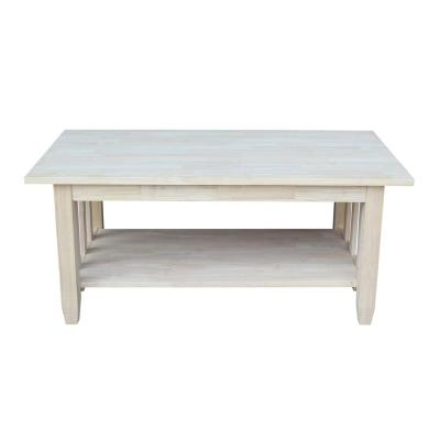 48 in. Unfinished Large Rectangle Wood Coffee Table with Shelf