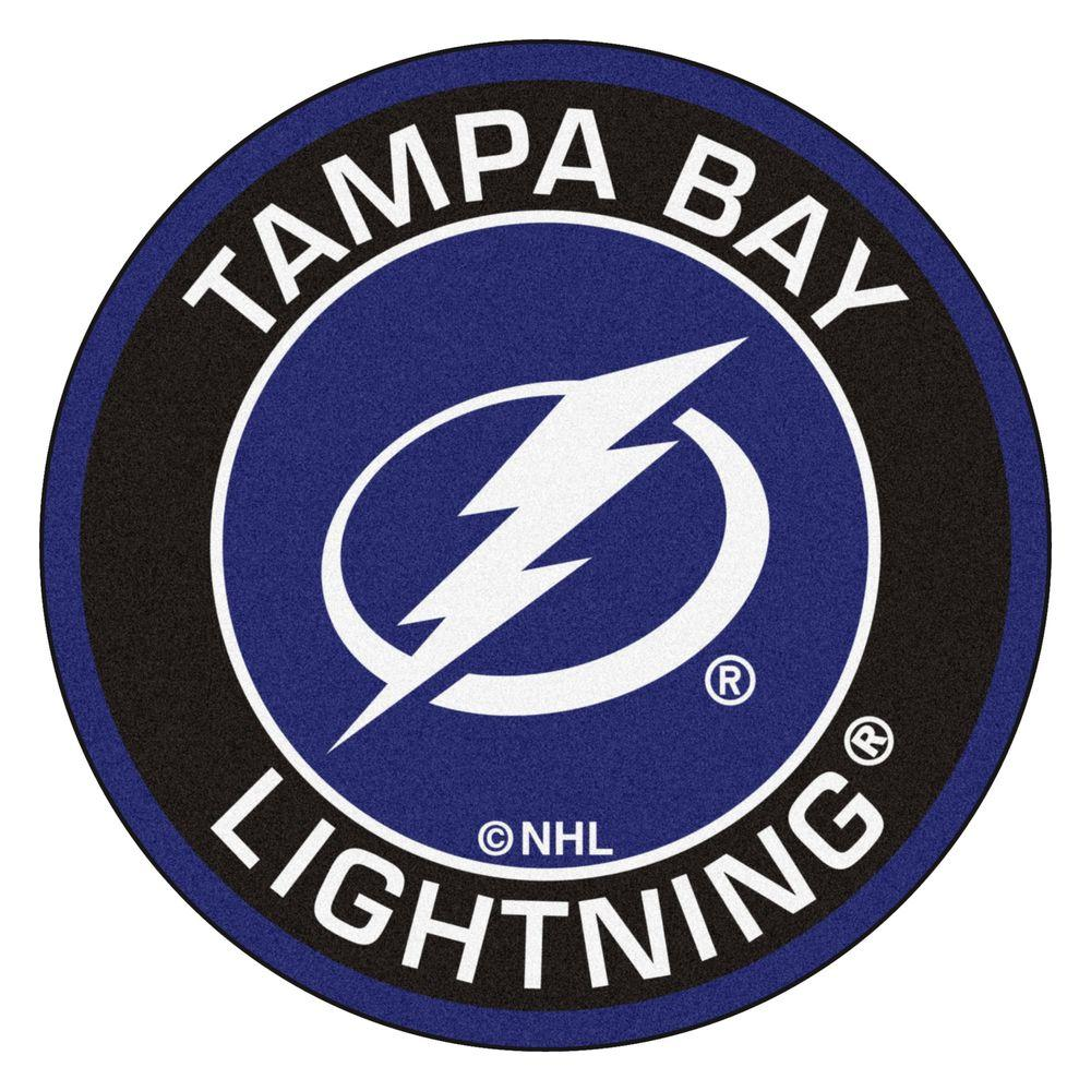 NHL Tampa Bay Lightning Black 2 ft. x 2 ft. Round Area Rug