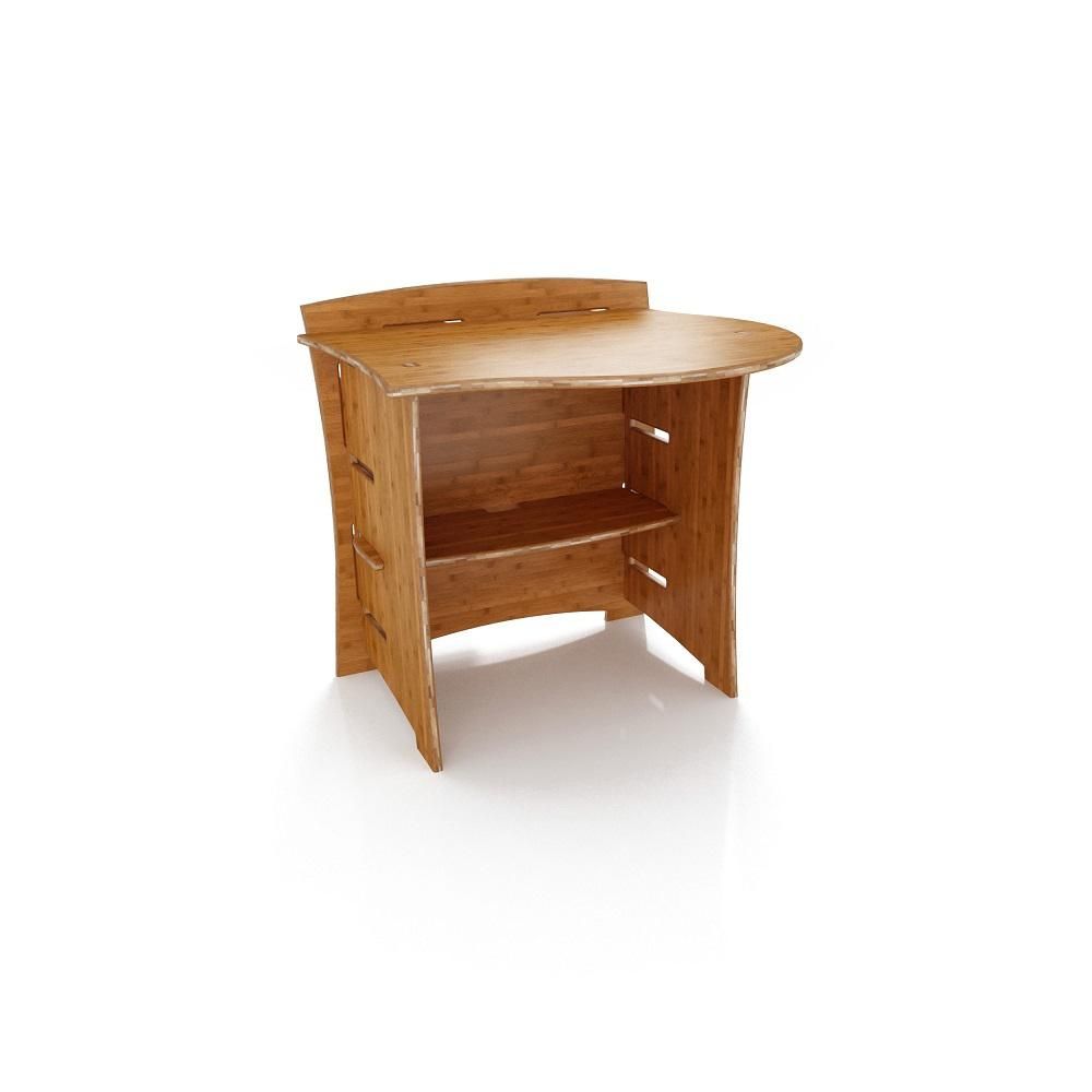 31 in. Peninsula Desk Addition with Solid Wood in Amber Color