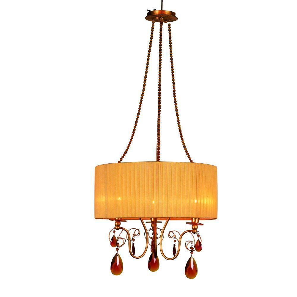 null Tempest Collection 3-Light Gold Hanging Large Pendant