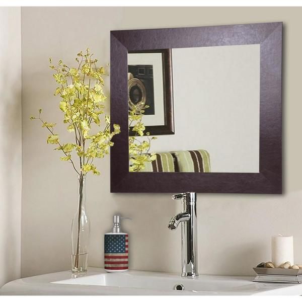 18 in. x 18 in. Wide Brown Leather Square Vanity Wall Mirror