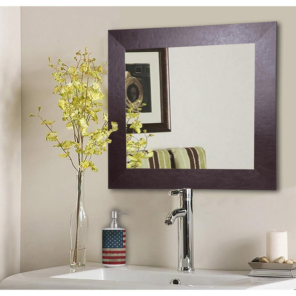 26 in x 26 in wide brown leather square vanity wall mirror wide brown leather square vanity wall mirror amipublicfo Gallery