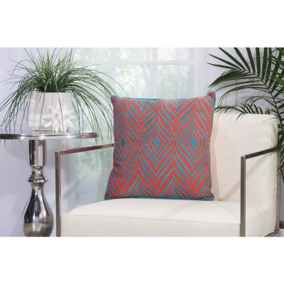 Wild Chevron Coral and Turquoise Geometric Stain Resistant Polyester 18 in. x 18 in. Throw Pillow