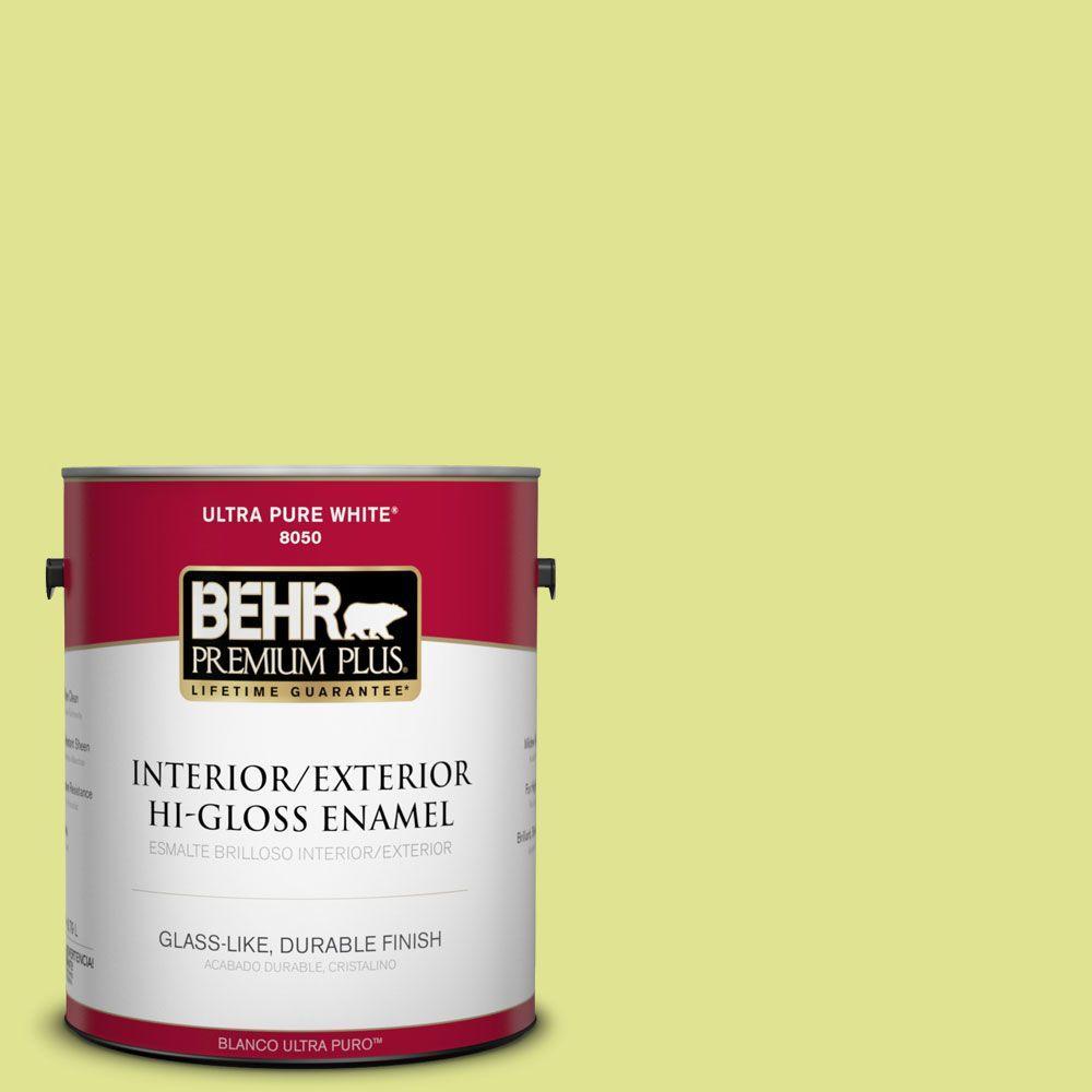 BEHR Premium Plus 1-gal. #410A-3 Honeydew Hi-Gloss Enamel Interior/Exterior Paint