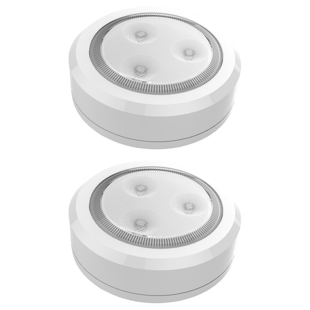 LED White Wireless Ultra Thin Puck Light (2-Pack)
