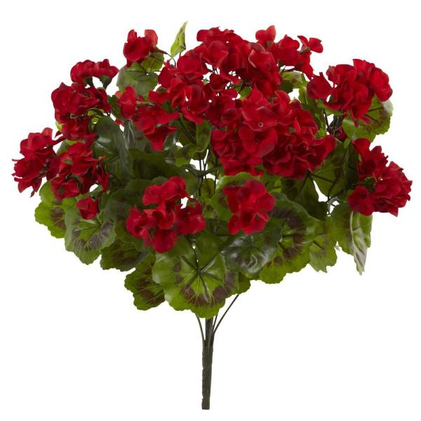 Nearly Natural Uv Resistant Indoor Outdoor Geranium Artificial Bush Set Of 3 6131 S3 Rd The Home Depot