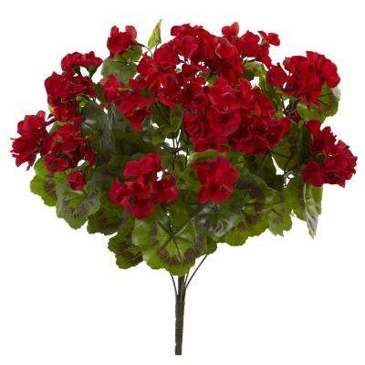 UV Resistant Indoor/Outdoor Geranium Artificial Bush (Set of 3)