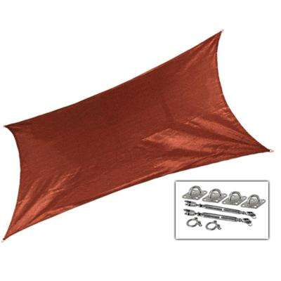 12 ft. x 10 ft. Terracotta Rectangle Ultra Shade Sail with Kit
