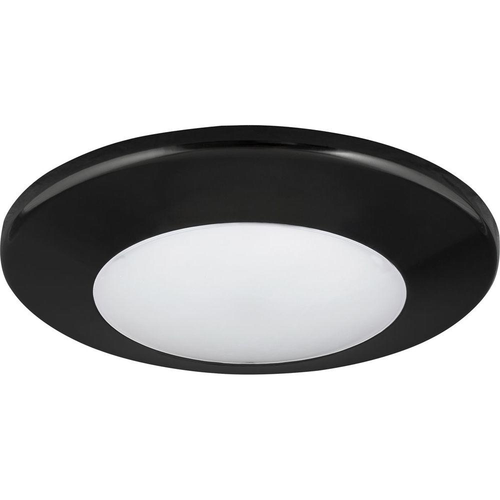 Surface mount light fixture wet location lighting designs progress lighting 7 1 4 in round light black led surface and arubaitofo Image collections