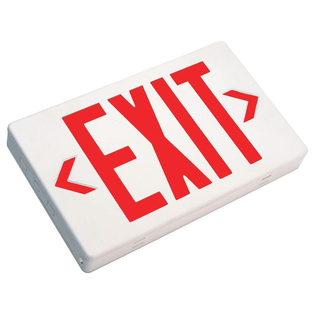 null White V-O Flame-Retardant Thermoplastic LED Emergency Exit Sign, Self Contained, Fully Automatic, with Red Lettering