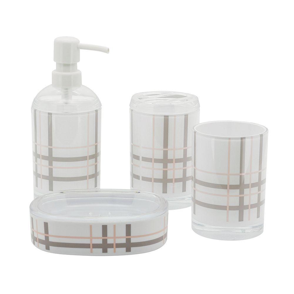 Brass bathroom accessories sets - Kingston Brass Plaid 4 Piece Bath Accessory Set In Beige