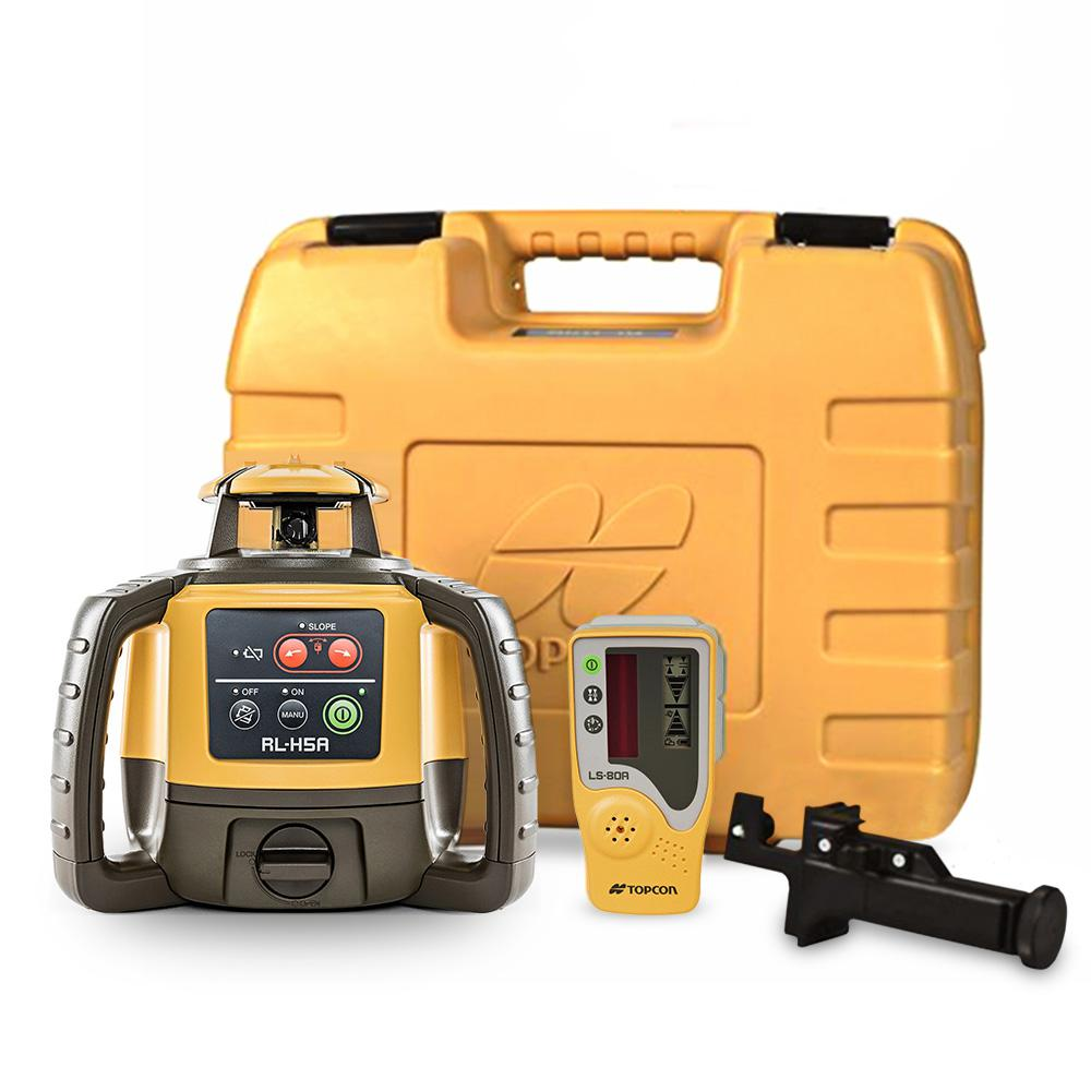 Topcon Rl H5a Horizontal Self Leveling Rotary Laser Level With Ls 80l Receiver 1021200 07 The Home Depot