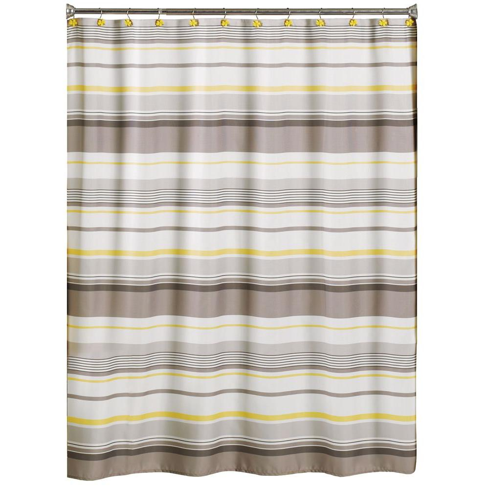Saay Knight Spring Garden 70 In W X 72 L Stripe Fabric Shower