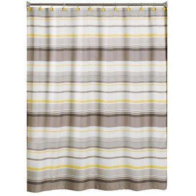 Spring Garden 70 in. W x 72 in. L Stripe Fabric Shower Curtain