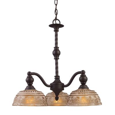 Norwich 3-Light Oiled Bronze Chandelier With Amber Glass Shades