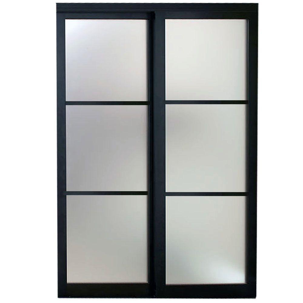 Contractors Wardrobe 96 in. x 96 in. Eclipse 3 Lite Bronze Aluminum Frame Mystique Glass Interior Sliding Door