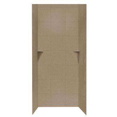 Square Tile 36 in. x 36 in. x 96 in. 3-Piece Easy Up Adhesive Alcove Shower Surround in Barley