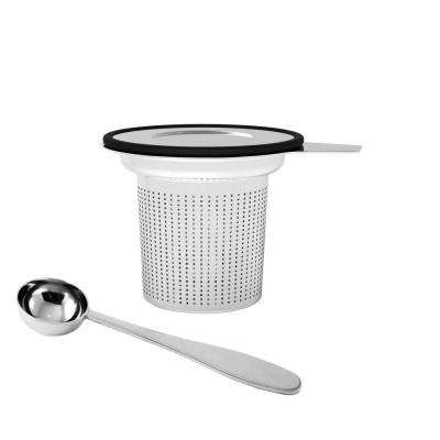 Stainless Steel Loose Leaf Tea Infuser with Lid in Silver/Black
