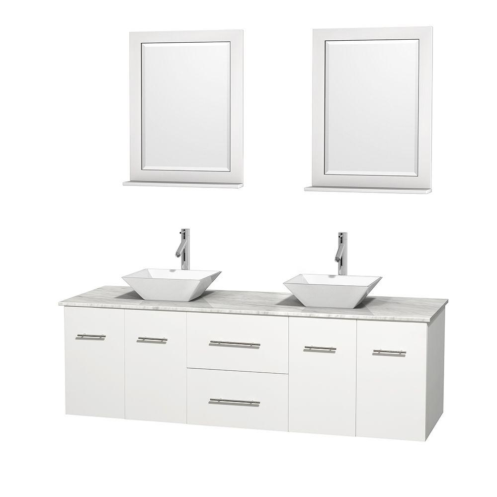 Wyndham Collection Centra In Double Vanity In White With Marble - 72 inch modern bathroom vanity