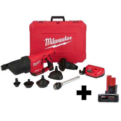 M12 12-Volt Lithium-Ion Cordless Drain Cleaning Airsnake Air Gun Kit with Free 6.0Ah Battery