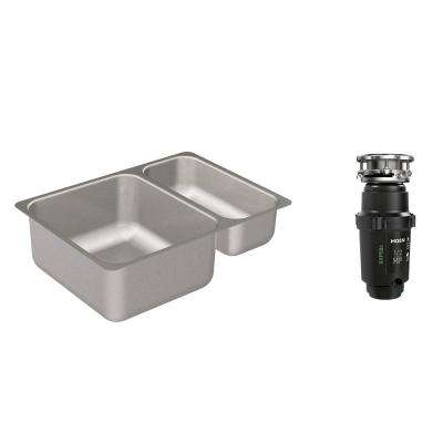2000 Series Undermount Stainless Steel 24 in. Double Basin Kitchen Sink with GX Pro Series 1/2 HP Garbage Disposal