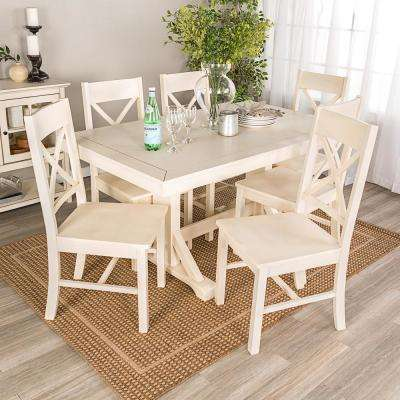 Millwright 7 Piece Antique White Wood Dining Set Part 25