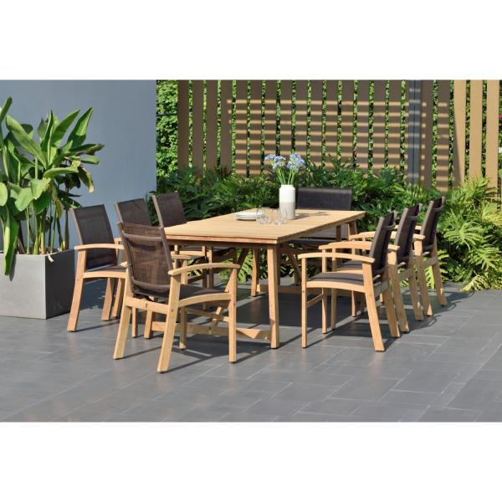 Vitoria 9-Piece Teak Rectangular Outdoor Dining Set