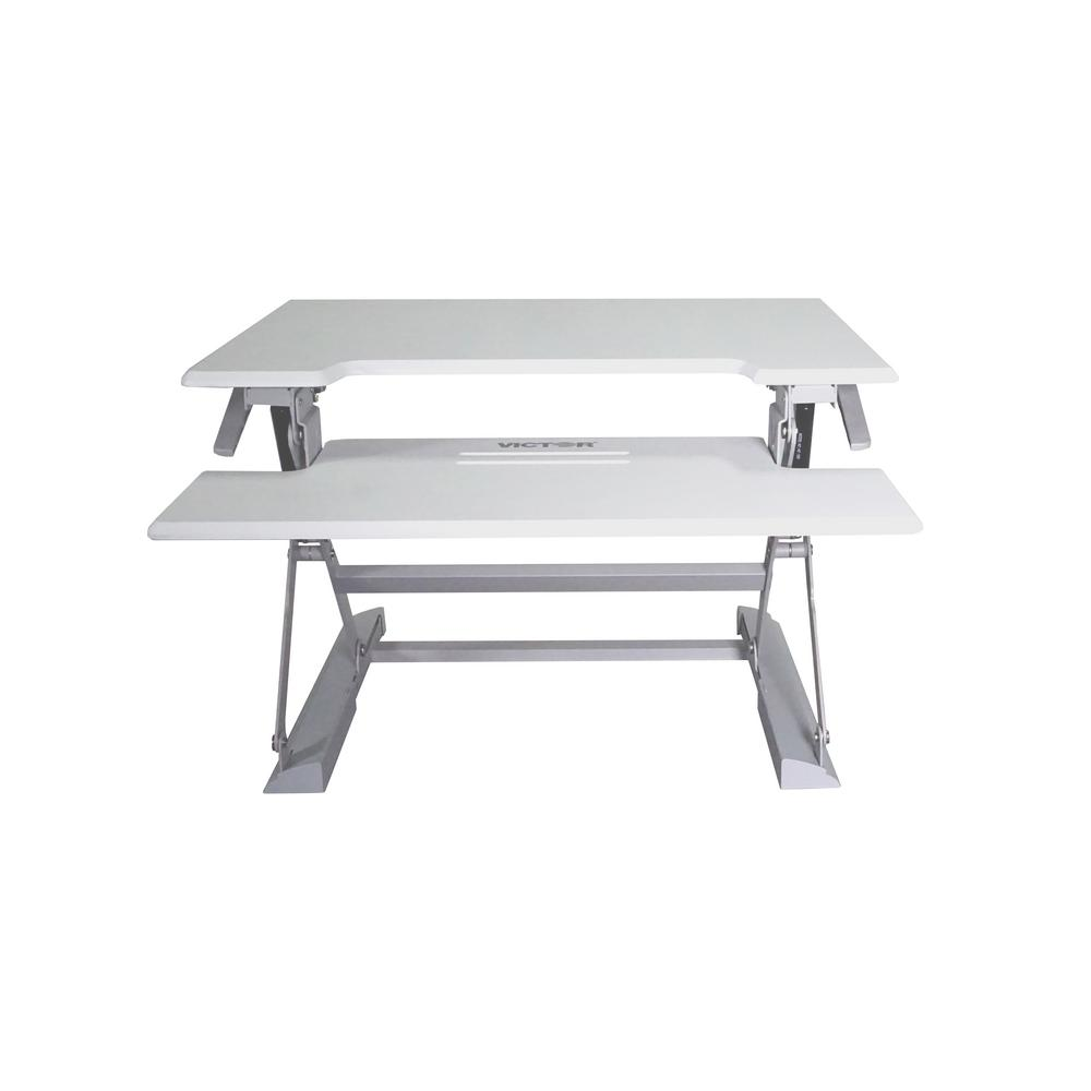Victor 31 In H White And Gray Adjustable Standing Desk With
