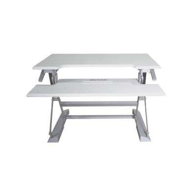 31 in. H White and Gray Adjustable Standing Desk with Keyboard Tray