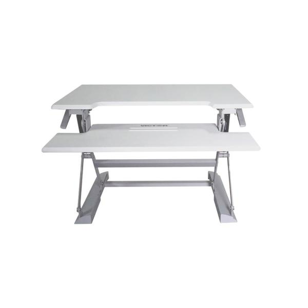 Victor Technology 31 in. H White and Gray Adjustable Standing Desk
