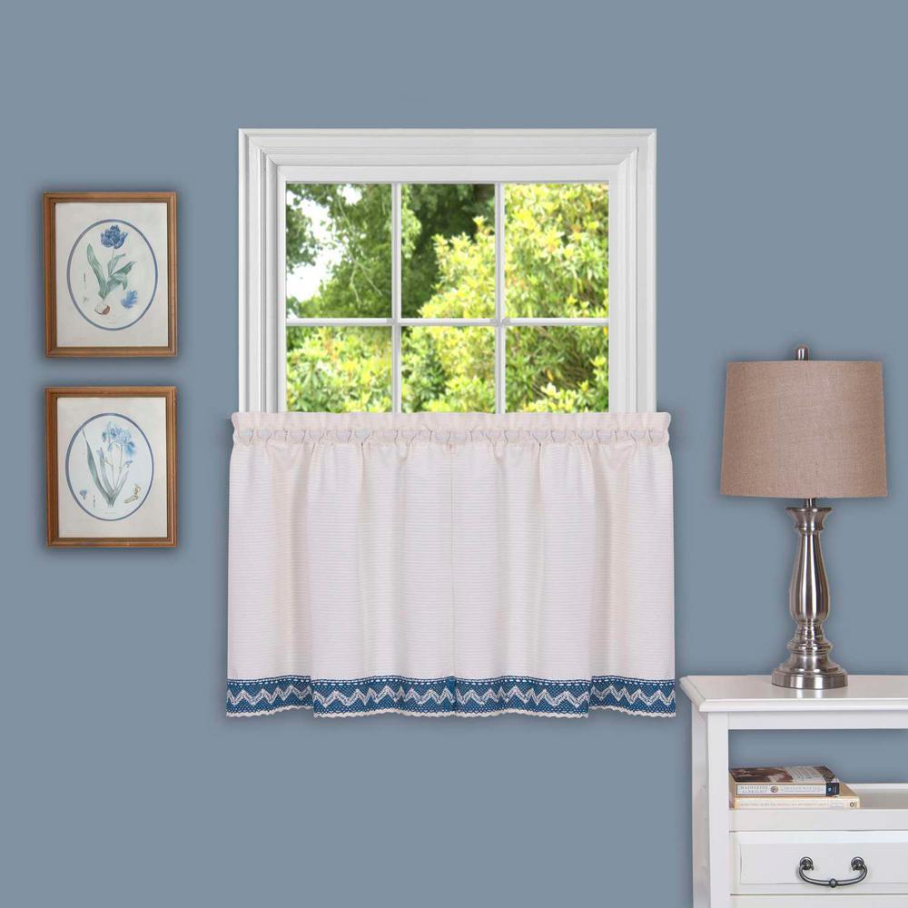 Sheer Camden Blue Window Curtain Tier Pair - 58 in. W x 24 in. L