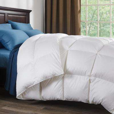 800 Fill Power White Goose Down Comforter 700 Thread Count 100% Cotton Fabric Queen in White