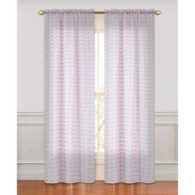 Cut Flower 84 in. Linen-look with 3D Flowers Rod Pocket in Pink (2-Pack)