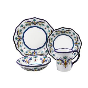 Samana 16-Piece Casual Shiny Finish Stoneware Dinnerware Set (Service for 4)