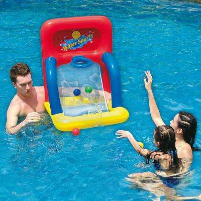34 in. Red, Yellow and Blue Inflatable Swimming Pool Water Sports Basketball Shooting Game