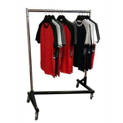 70 in. H x 41 in. L x 21 in. D Deluxe Adjustable Z Rack Garment Rack with Black Base