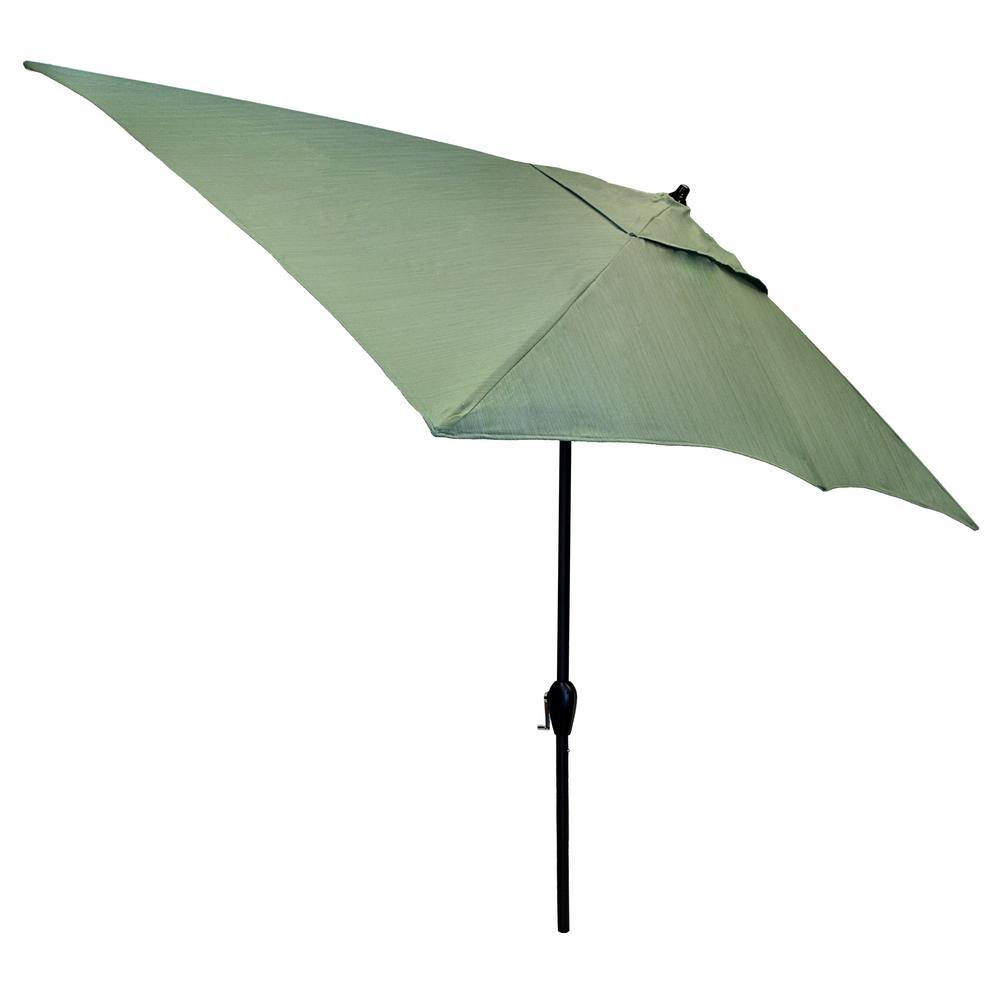 10 ft. x 6 ft. Aluminum Patio Umbrella in Surplus with Tilt