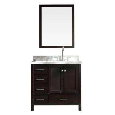 Cambridge 37 in. W x 22 in. D Bath Vanity in Espresso with Carrara Marble Vanity Top in White with Basin and Mirror