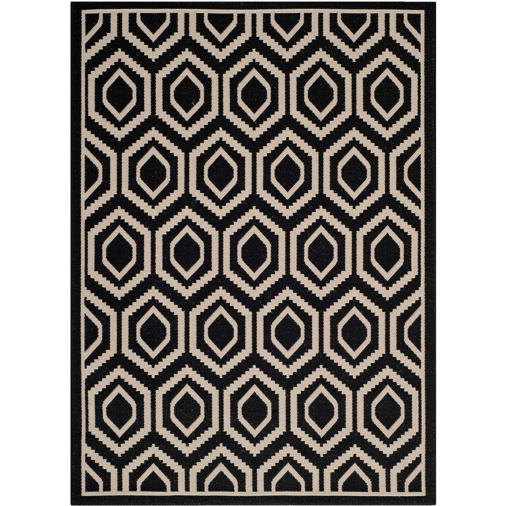 Safavieh Courtyard Black/Beige 2 ft. 7 in. x 5 ft. Indoor/Outdoor Area Rug