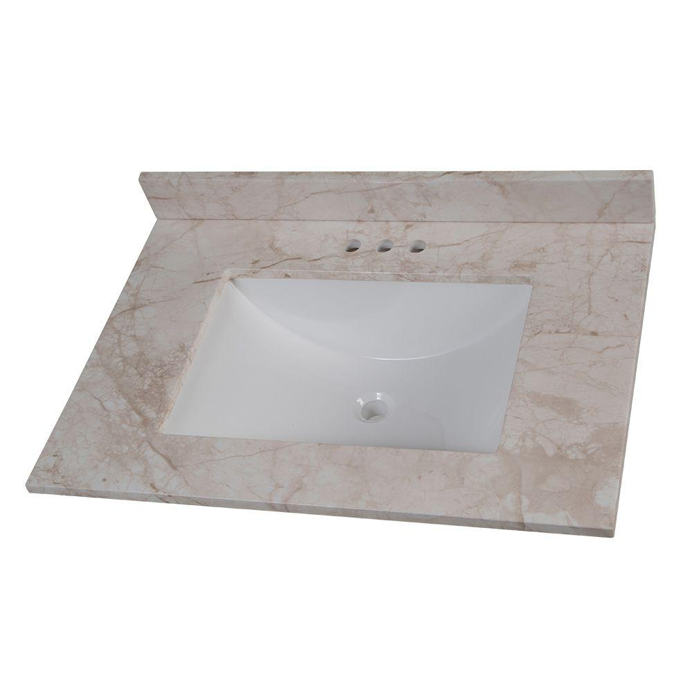 31 In W X 22 D Stone Effects Vanity Top Dune With White Sink