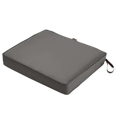 Montlake Light Charcoal Grey 21 in. W x 19 in. D x 3 in. Thick Rectangular Outdoor Seat Cushion